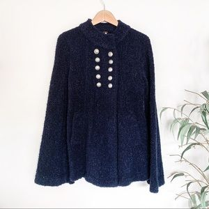 Free People NWT Blue Wool Military Coat